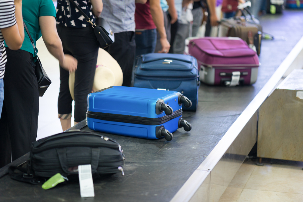 luggage on conveyor belt