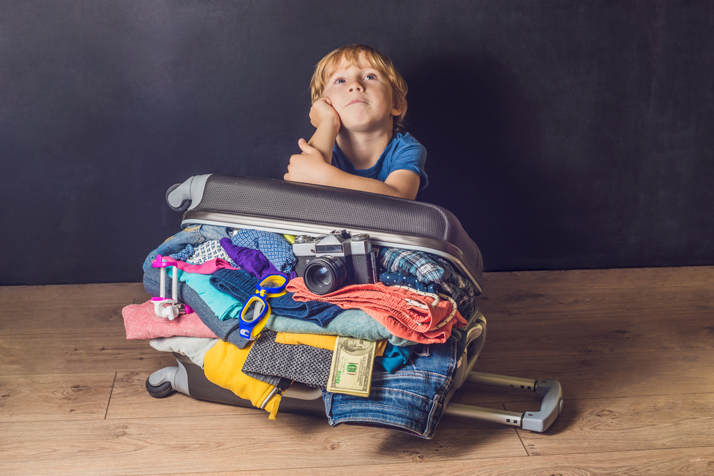 overpacked suitcase for kids