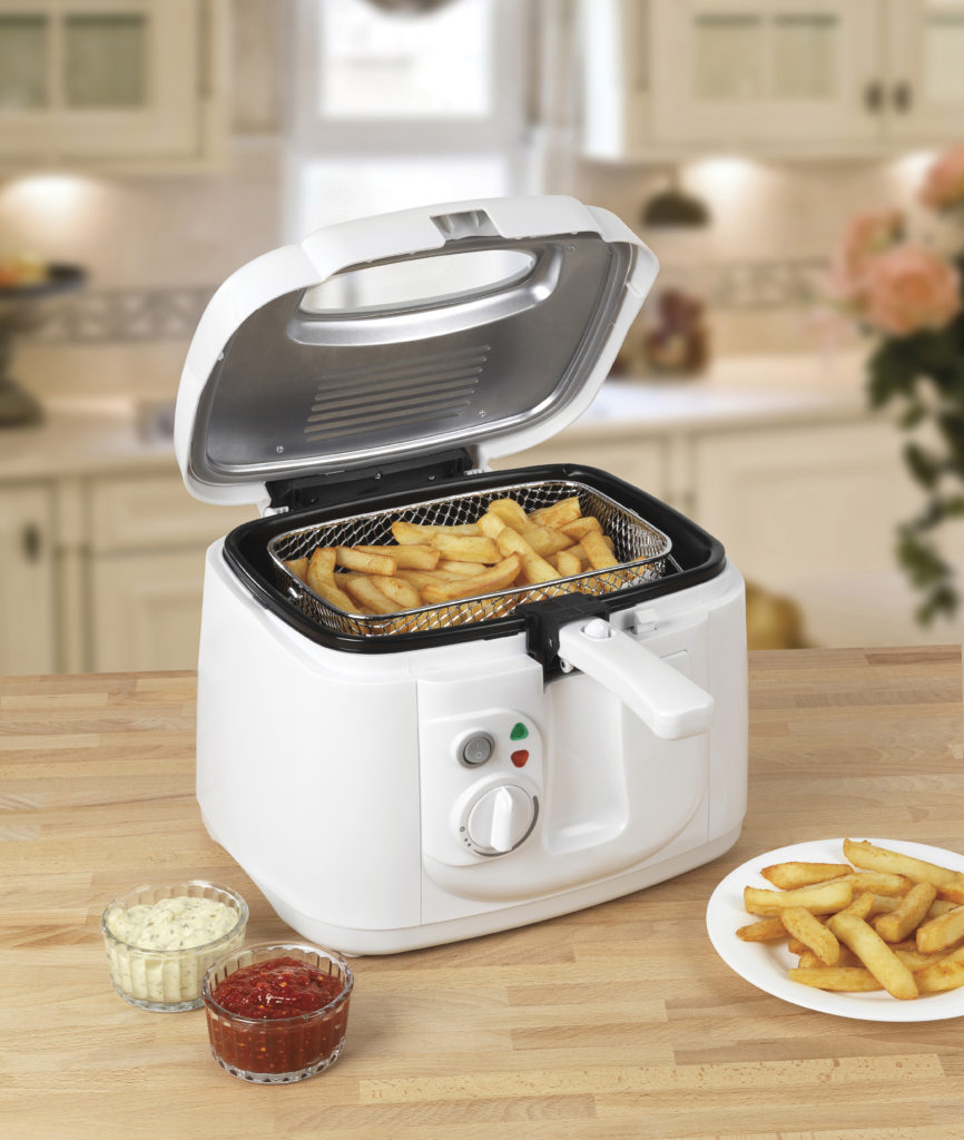 white air fryer and chips