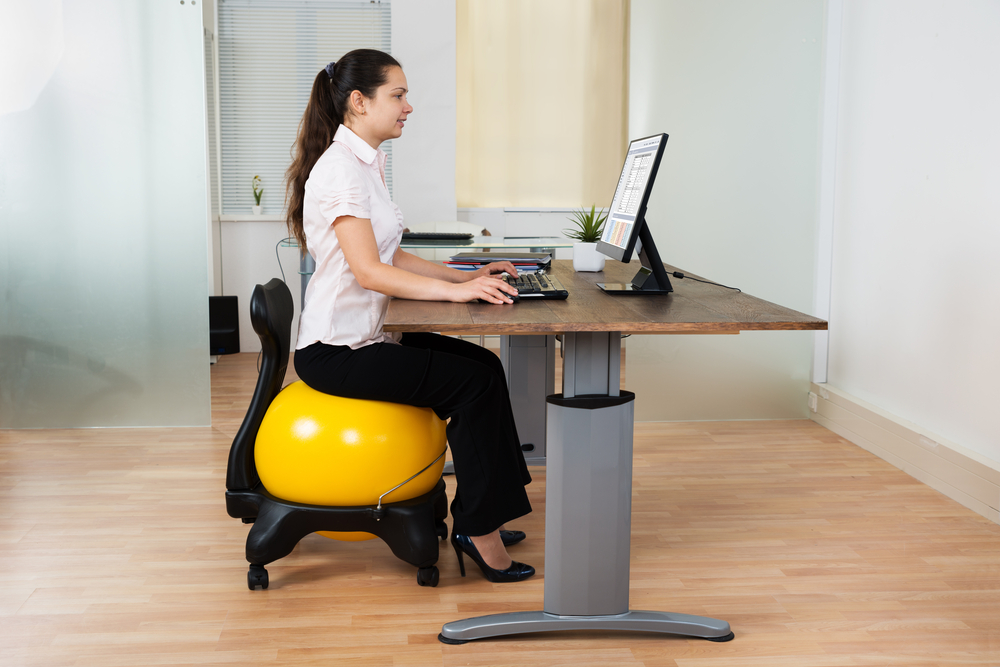 woman chair exercise ball desk office