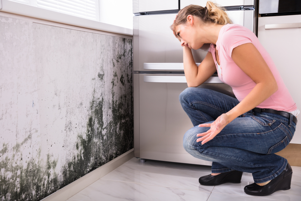 woman next to mold in home