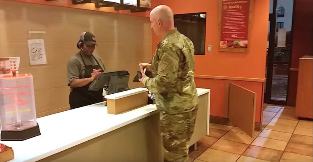 Soldier Gets Up To Pay For His Meal, Changes His Mind When He Sees These Two Walk In