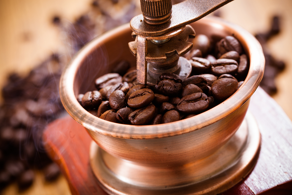 beans in grinder