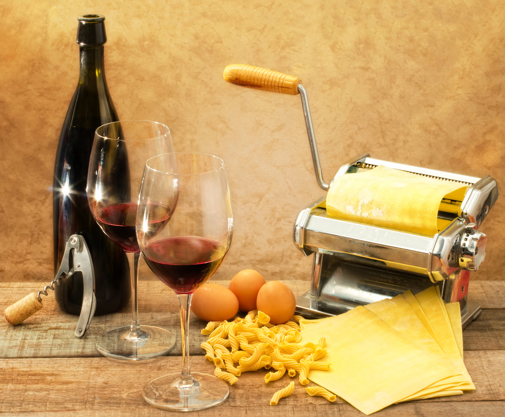 egg pasta and wine