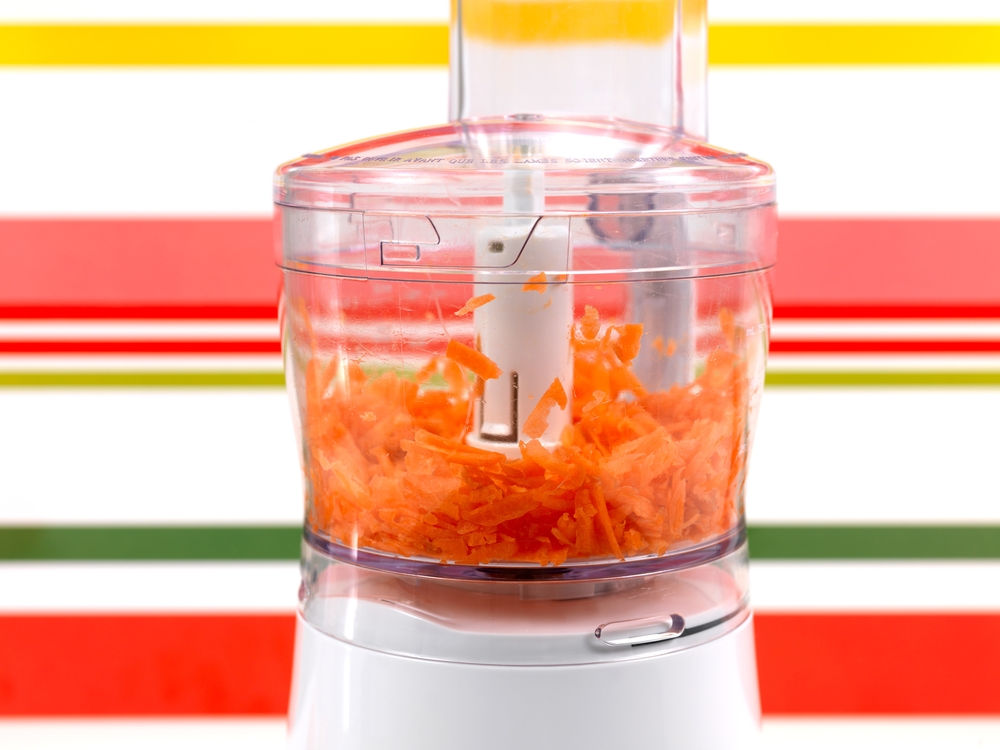 food processor full of carrots