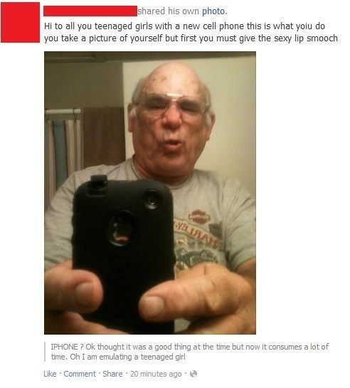 grandpa doing the duck face
