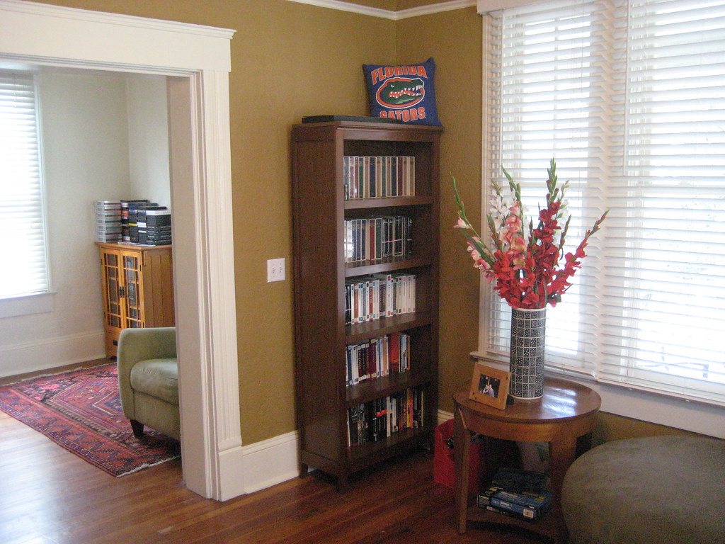 living room with little bookshelf