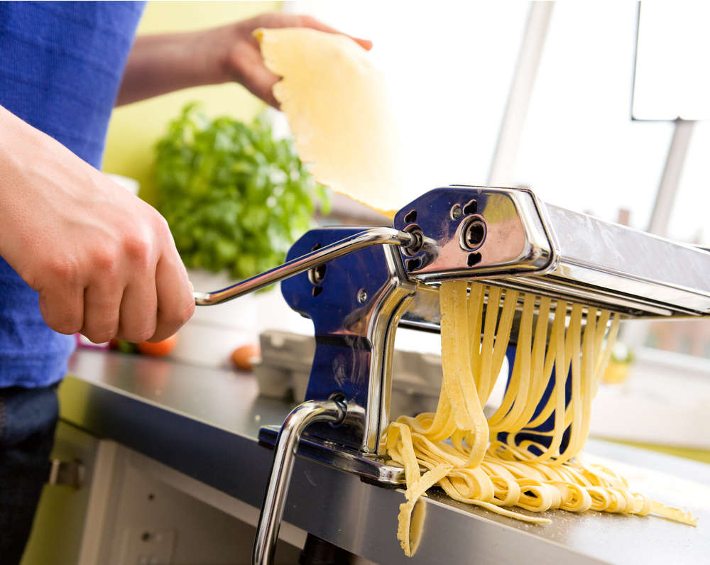 pasta maker clamped to countertop