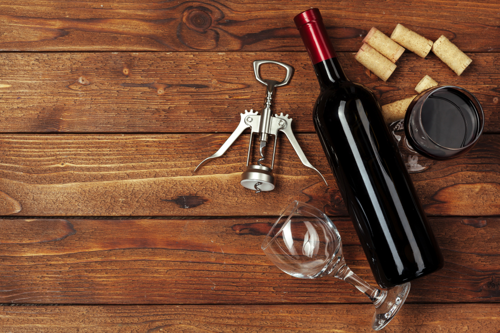 wine opener and bottle of wine