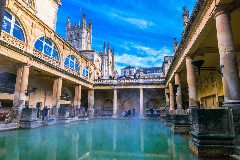 bath, england steaming roman baths in winter