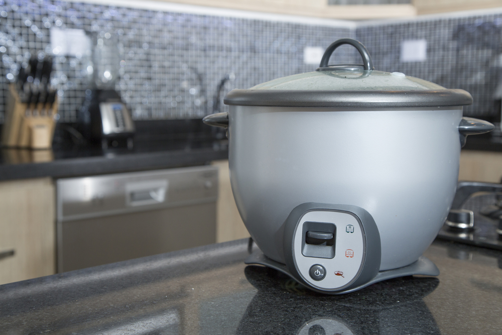 gray rice cooker on counter