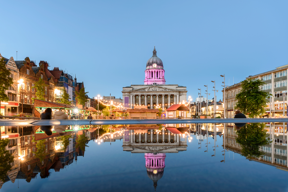 nottingham council house and a fountain front shot at twilight