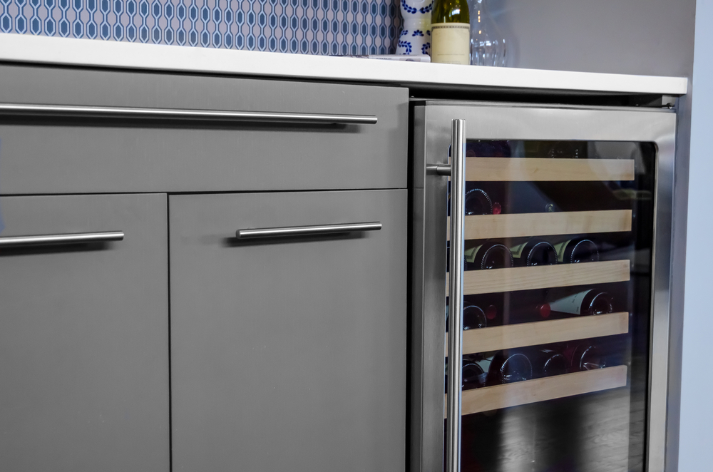 wine fridge in a kitchen