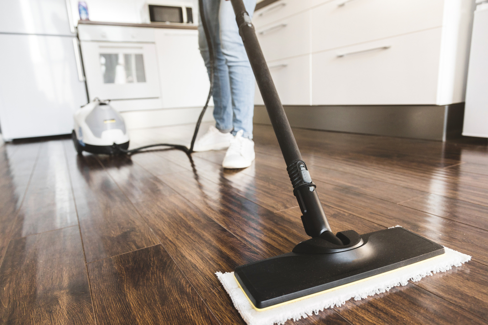 woman cleaning with steam mop