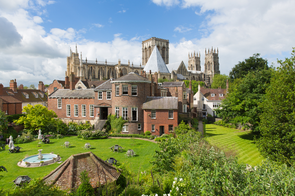 york minster uk view from the city walls of the historic cathedral and tourist attraction