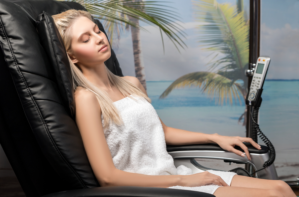 relaxing in a massage chair