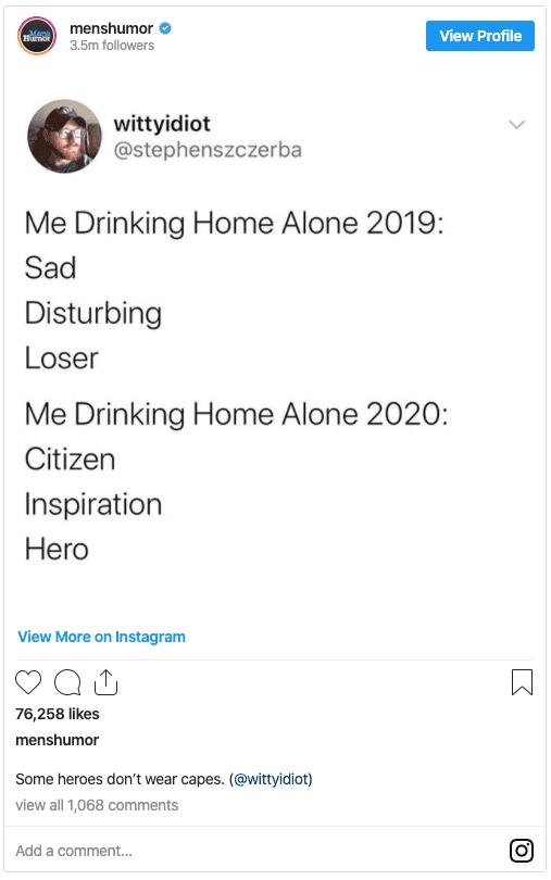 Drinking Alone Quarantine Meme