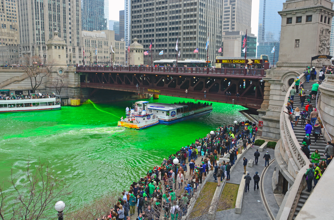 On St. Patrick's Day, what city dyes its river green?